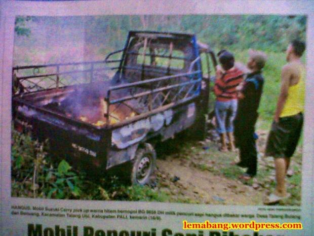 Mobil Pencuri Sapi Dibakar