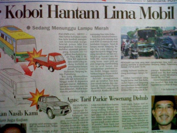 Sopir Koboi Hantam Lima Mobil