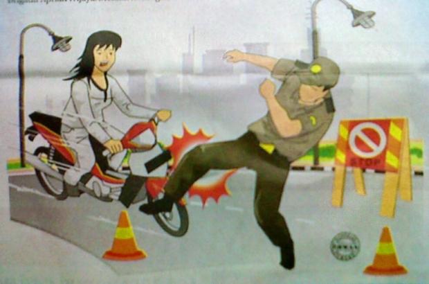 Terobos Razia, Pelajar Tabrak Polisi