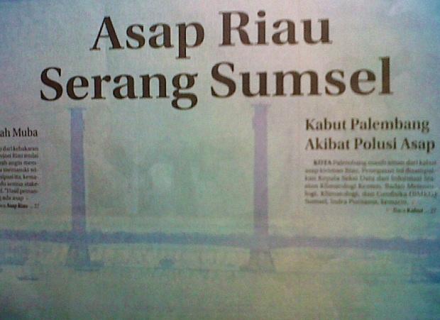 Asap Riau Serang Sumsel