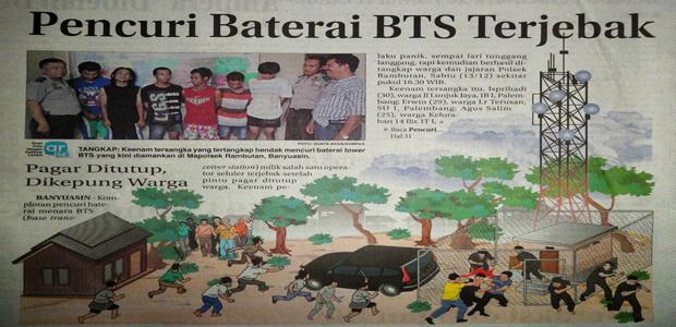 Pencuri Baterai BTS Terjebak